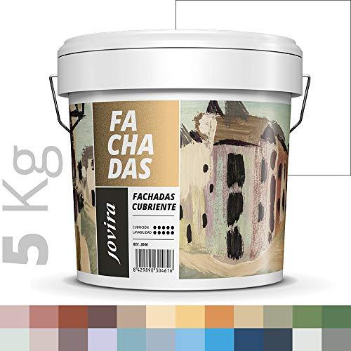 PINTURA FACHADAS ANTIMOHO, Repelente al agua, impermeable y antifisuras. (5KG, BLANCO)