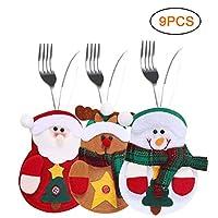 Dimensioni: - Circa 13 * 10 cm / 5,11 * 3,93 pollici. Adatto per la maggior parte delle dimensioni di stoviglie di Natale. Ogni borsa ha una piccola tasca sul retro che può essere riempita con una forchetta e un cucchiaio come decorazione natalizia. ...