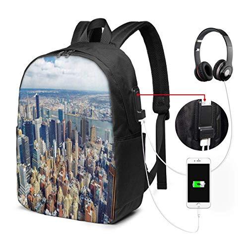TSA Sac à Dos pour Ordinateur Portable avec Port de Charge USB pour Homme et Femme Motif Horizon de Manhattan Skyline 17 Pouces