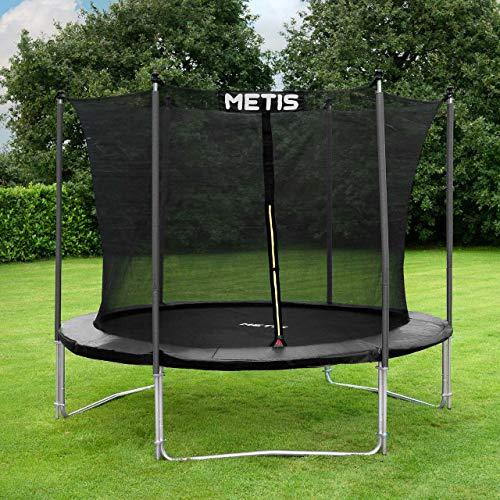 METIS Studsmattor Trädgård | Trampoliner för trädgården | Finns olika diameter: 2.4m, 3m, 3.7m, 4.3m, 4.6m | Utomhusnöje för familjen | Fjädrarna är skyddade av stoppning | Högt skyddsnät för extra säkerhet | 2 modeller | Voyager 3m