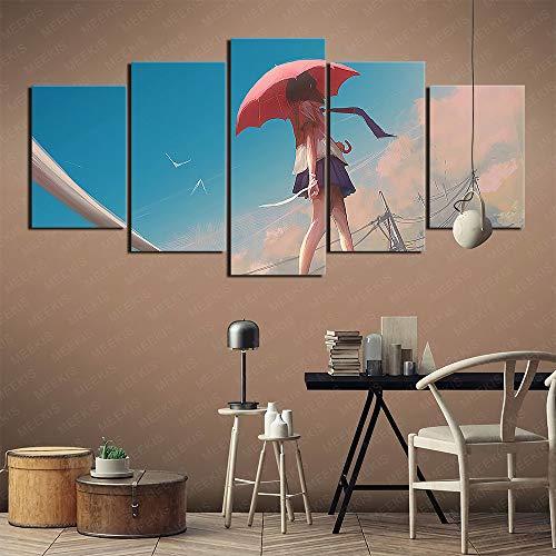 CAFO Leinwand Wand gedruckt HD 5 Panel Anime Mädchen Regenschirm im Freien barfuß Minirock Schlafzimmer Dekoration 100x50cm Rahmenlos