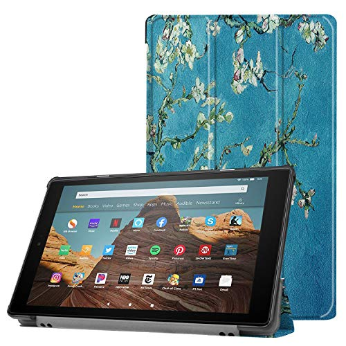 RKINC Case for Amazon Fire HD 10, Trifold Smart Lightweight Cover with Auto Sleep/Wake, Hard Back Case for Amazon Fire HD 10 Tablet 10.1' (7th Gen & 9th Gen, 2017 / 2019 Release)(Design01)