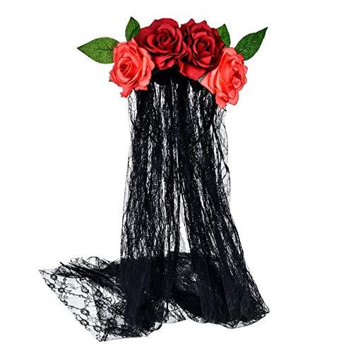 E-more Halloween Stirnband mit schwarzer Spitze Schleier, elastische Rose Blume Haarband rote Rosen Mesh Spitze Haarschmuck Halloween Geist Braut Party Kopfschmuck für Mädchen Damen Frauen