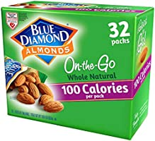 Blue Diamond Almonds Whole Natural Raw Snack Nuts, 100 Calorie Travel Bags, 32 count