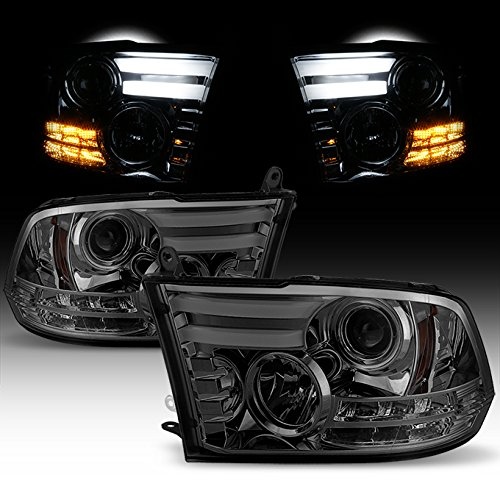 For 2009-2018 Dodge Ram 1500 2500 3500 Smoked lens Dual LED DRL Tube Signal Projector Headlights Lamps Replacement