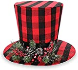 Red Buffalo Plaid Christmas Tree Topper Hat with Pinecones and Holly Berries, 15 Inch
