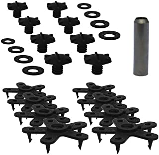 """Eagle Klaw - Floor Mat Clips Set of Anti-Slip Fixing Retainers for Car Mats - Made in USA - Black - Pack of 8 for 4 Mats + 3/8"""" Cutter"""