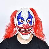 JSFQ Masque Halloween Clown Visage Complet Maquillage Latex avec Longue Cheveux Withe for La Fête Et Costume De Mascarade (Color : C)