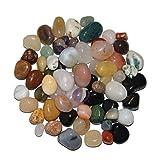 Natur Trommelstein Mischung 1 kg ca. 200-250 Steine ca. 10-30 mm mit Bergkristall, Rosenquarz, Moosachat, Natur Achate, Jaspis u.a.(4955)