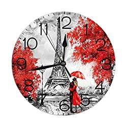 Dujiea Romantic Eiffel Tower Round Wall Clock Silent Non Ticking Battery Operated 9.5 Inch for Student Office School Home Decorative Clock Art
