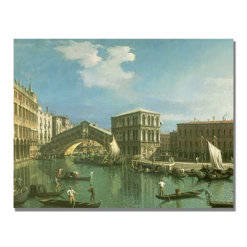 The Rialto Bridge, Venice by Canaletto, 24x32-Inch Canvas Wall Art