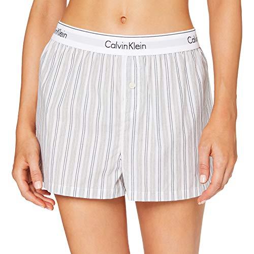 Calvin Klein Sleep Short Pantalones de Pijama, Gris (Modern Stripe_Vertical MTU), L para Mujer