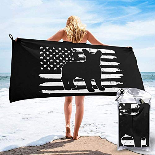 Frenchie and USA Flag Microfiber Beach Towel, Sports Gym Towel, Quick Dry Towels, Sand Free, Super Absorbent & Lightweight Travel Towel for Gym, Beach, Swimming, Backpacking