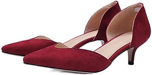 Weier. Ben zapatos de Confort para mujer Microfibra Caída Tacones Tacón bajo gris rojo azul Boda@rojo_US6   EU36   UK4   CN36