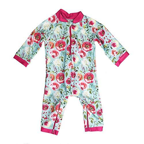 Honeysuckle Swim Company Baby Girl Swimsuit - Certified UPF 50+ - Easy Inseam Diaper Zipper (Newborn, Flower Power)