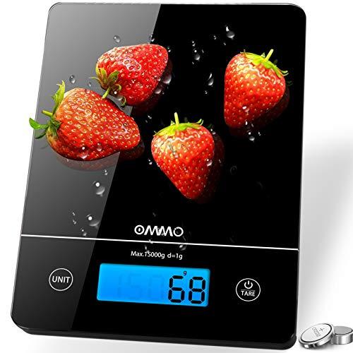 OMMO Básculas de Cocina Digitales 15 kg, Pantalla LCD, Bás