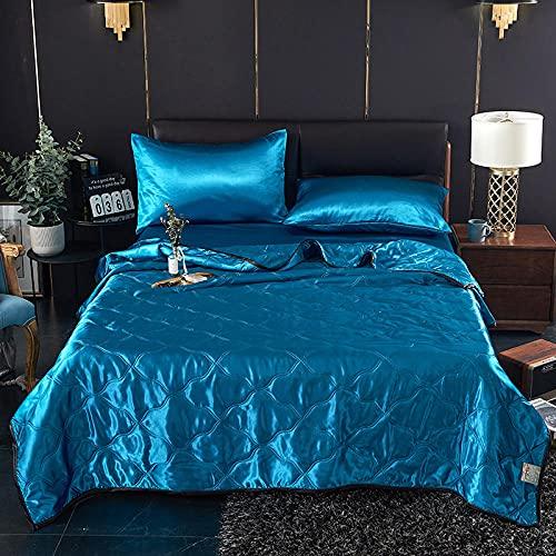 Meet Beauty King Size Satin Bedding Set Washable Silk Summer Quilt-Pure Color-Single/Double Size Children's Summer Quilt-dark blue_Bed sheet 200x240cm
