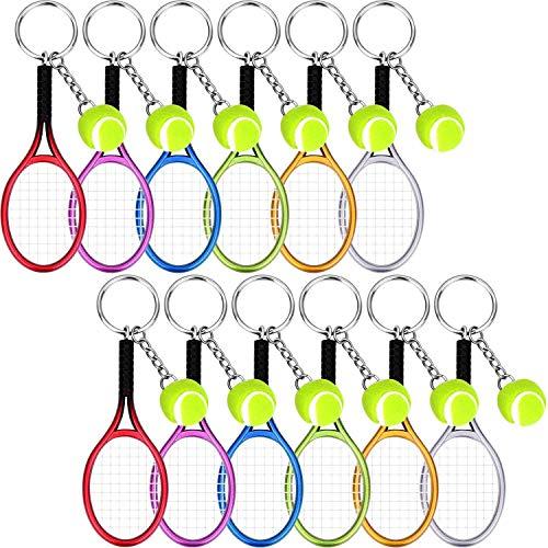 BBTO 12 Pieces Tennis Key Chain Tennis Racket Shape Key Rings Sport Style Split Keychain Set, 6 Colors