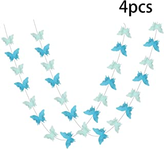 ADLKGG Butterfly Hanging Garland 3D Paper Bunting Banner Party Decorations Wedding Baby Shower Home Decor Blue 4 Pack, 110 inch