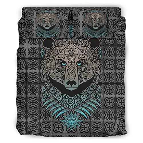 Hanebar Laickter Juego de cama de 4 piezas, diseño de oso vikingo, colorido y agradable a la piel, juego de cama blanco 228 x 264 cm