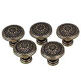 BQLZR - Tiradores de cajones o aparadores de cocina, 25 x 23 mm, flor en bronce envejecido, 5 unidades, sin tornillos