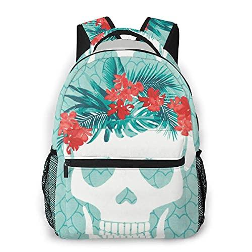 Lawenp Mochila Unisex de Moda Calavera con Flores Mochila Ligera para portátil para Viajes Escolares Acampar al Aire Libre