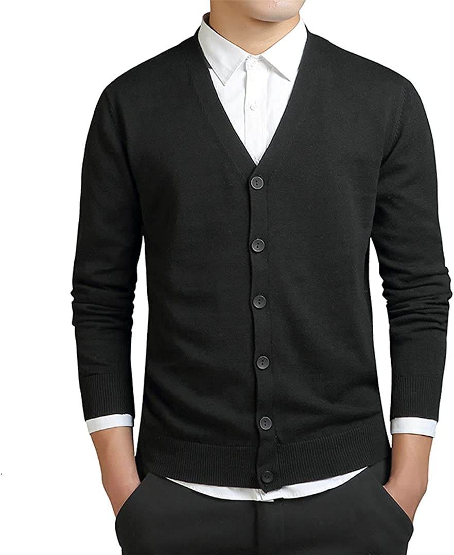Cardigans Men Cotton Sweater Long Sleeve Mens V-Neck Sweaters Loose Solid Button Knitting Casual