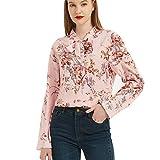 Camisa de Mujer de Verano Chic Blusa Floral Camiseta de Manga Larga, Retro con Cuello en V Elegante Top con Escote en Forma de Lazo Túnica Ligera y Transpirable