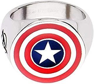 Men's Stainless Steel Captain America Logo Ring