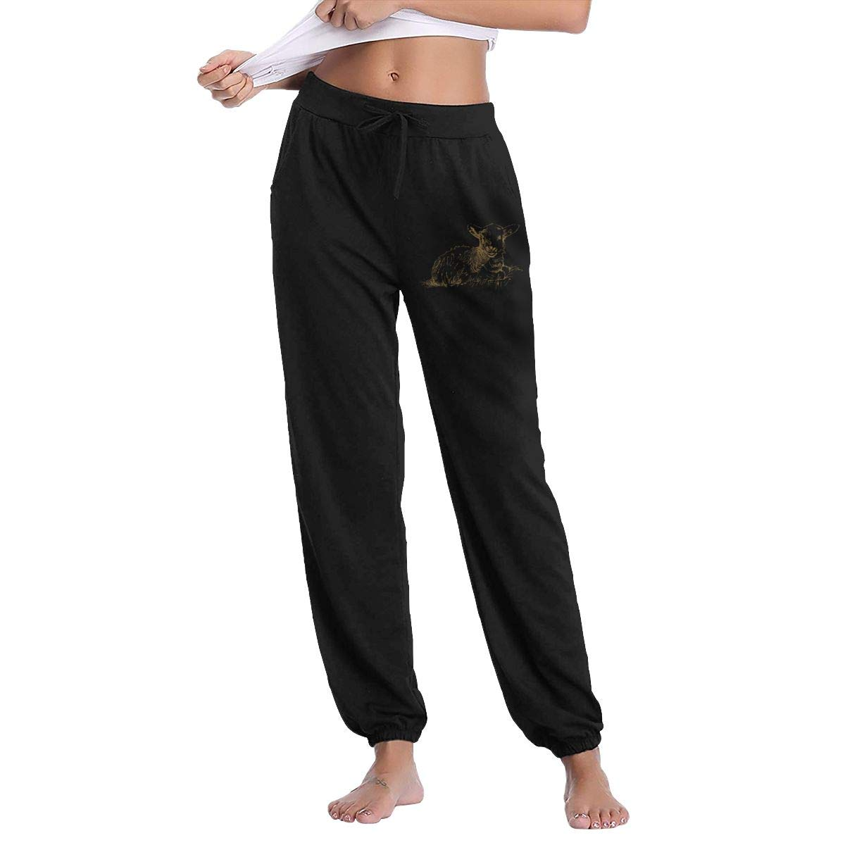 Women's Jogger Sweatpants Sheep On Grass Active Yoga Lounge Relaxed Fit Casual Pants with Pockets Workout Training Running Black