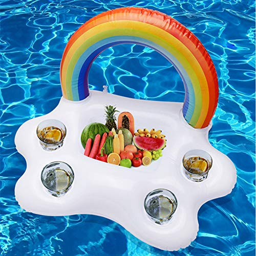 JTYX Inflatable Pool Float Beer Drinking Cooler Table Bar Tray Beach Swimming Ring Summer Pool Party Bucket Rainbow Cloud Cup Holder