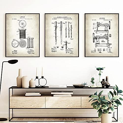 VCFHU ImpresióN De Poster De MáQuina De Coser Arte Industrial Pintura En Lienzo Arte De Pared Vintage para Salon De Estar Decoracion Interior para El Hogar Cuadros 40x50cmx3 Sin Marco