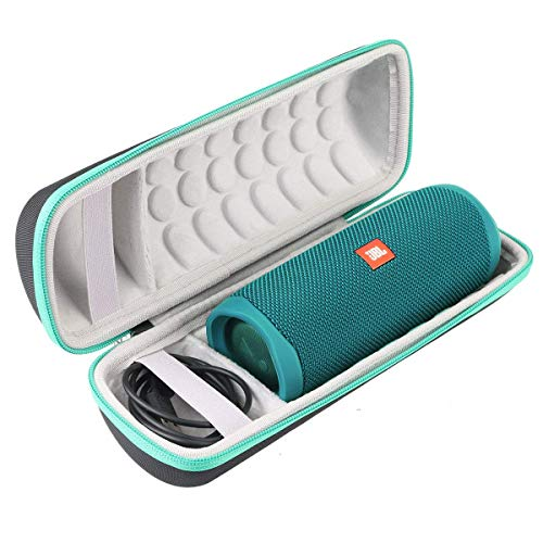 Khanka Hart Tasche Schutzhülle für JBL Flip 5 Flip5 Bluetooth Box tragbarer Lautsprecher,Case passt für Lautsprecher and Zubehör. (Grün Reißverschluss,Schwarz Äußeres, weiß Inneres)