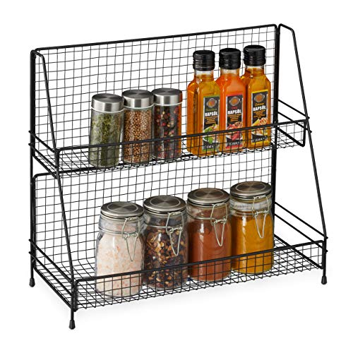 Relaxdays Gewürzregal, 2 Etagen, Metall, Küchenregal für Gewürze, freistehend, Gewürzständer HBT 35x40x16 cm, schwarz