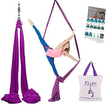 F.Life Aerial Silks Standard Kit Pilates Yoga Flying Swing Aerial Yoga Hammock Silk Fabric for Yoga  10 Yards of Fabric   Purple