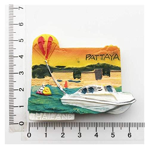 JSJJAWS Imanes de nevera de Tailandia para recuerdos turísticos de huella creativa Pattaya Phuket Beach Bangkok Sellos Flip Flop Koh Chan Imán para nevera Set Ideas de regalo (Color: 17)