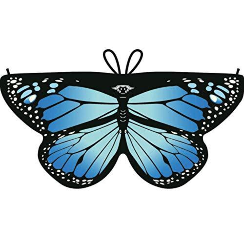 Dragon868 Heißer Cosplay Party Schmetterlings flügel Schal Schals Nymphe Pixie Poncho Karneval Kostüm Zubehör Kind Kinder Jungen Mädchen böhmischen Print 118*47cm (Blau)