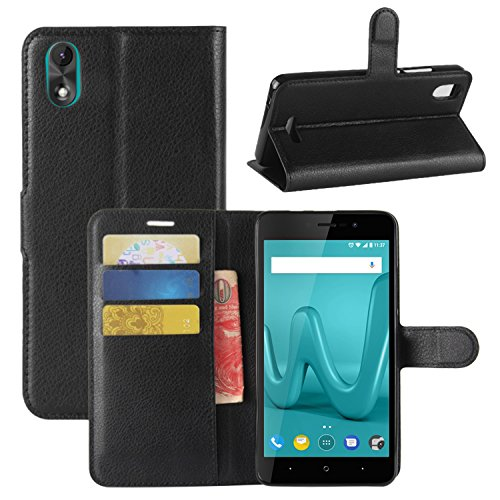 HualuBro Wiko Lenny 4 Plus Hülle, Premium PU Leder Leather Wallet Handyhülle Tasche Schutzhülle Hülle Flip Cover mit Karten Slot für Wiko Lenny 4 Plus Smartphone (Schwarz)