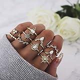 Simsly Vintage Knuckle Edelstein Ring Gold Kristall Joint Knuckle Ring Set mit Kristall für Damen und Mädchen (10 Stück)
