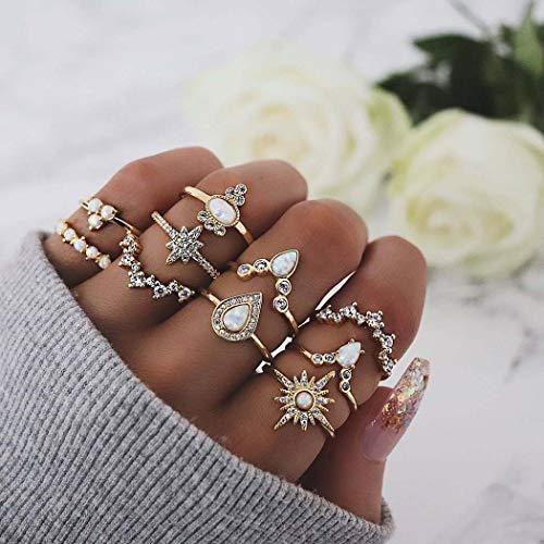 Simsly Vintage-Knöchelring, Edelstein, Goldfarben, Kristall, Ring-Set mit Kristall für Damen und Mädchen (10 Stück)