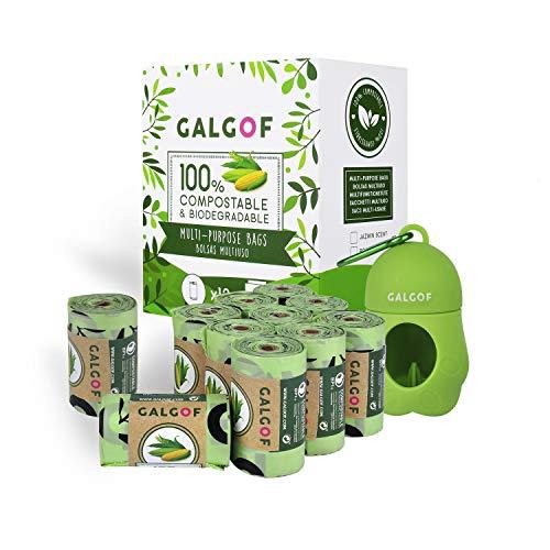 GALGOF Bolsas de Basura higiénicas y biodegradables para Perro + Dispensador. 10 Rollos perfumados, compostables y ecológicos para residuos y excrementos de Mascotas (180 uds)