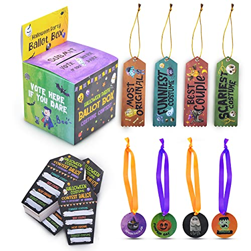 Halloween Trophy Party Awards - Best Costume Trophy for Halloween Costume Contest Set with Ballot Box, 50 Coffin Shaped Voting Cards, Halloween Trophy Awards Ribbons, and Award Medals