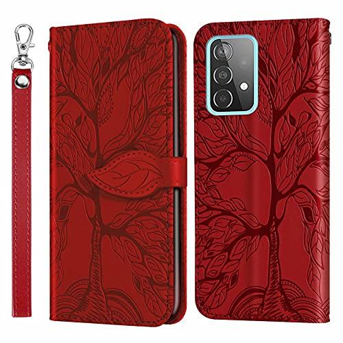 MUTOUREN Funda para Samsung Galaxy A52 4G/5G - Carcasa Folio PU Cuero Flip Cover Wallet Case Anti-rasguños Protectora Bolsillo Carteras, con Protector de Pantalla - Rojo