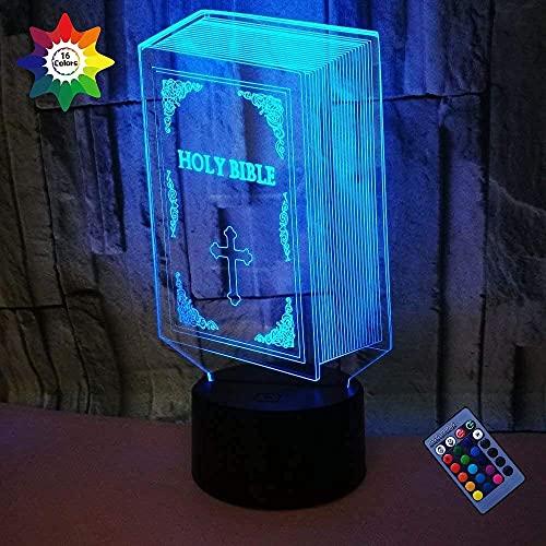 Luz de la noche de la Biblia 3D 16 colores que cambian la energía del USB Control remoto Interruptor táctil Lámpara de decoración Lámpara de ilusión óptica Lámpara de escritorio de mesa LED Regalo