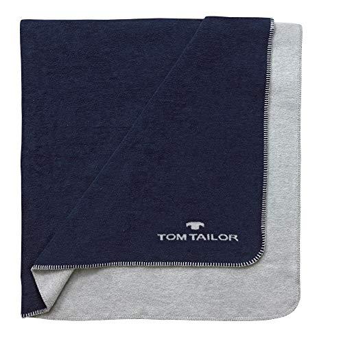 Tom Tailor Decke Noreen, Indigo, 150 x 200 cm, Kuscheldecke, Wohndecke, Schlafdecke, Wohnzimmer, Wendedecke, Wohnzimmerdecke, Tagesdecke
