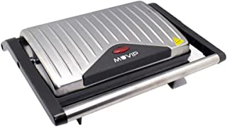 MUVIP Sandwichera INOX Grill (Potencia 750W, Placas Antiadherentes Tipo Grill, Placa Superior Basculante, Asa Tacto frío, ...