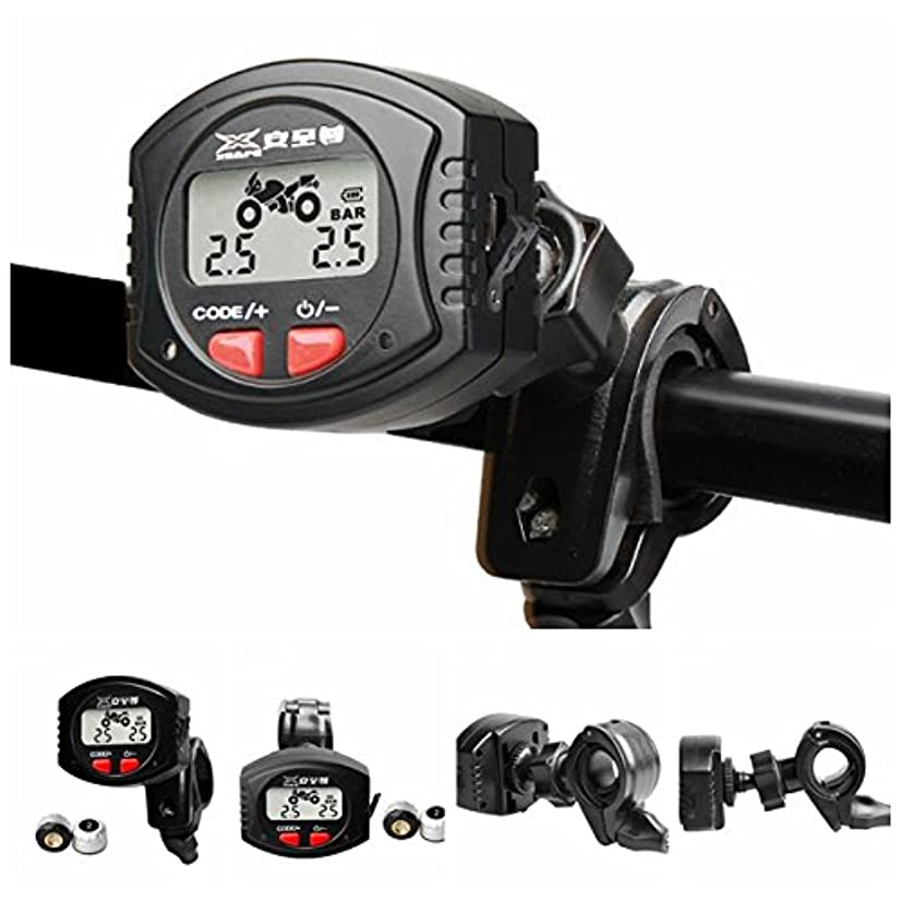 RISHIL WORLD TPMS Motorcycle Tire Pressure Monitoring System with Wireless External Sensor LCD Display