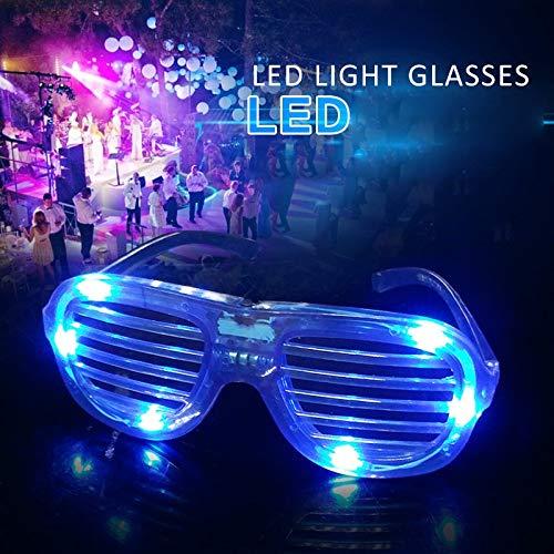 TKFY LED Leuchtgläser Electronic Shutter EL Diskothek Leistung Fluoreszierende Requisiten 3 Modi Glow Brillen für Halloween Geburtstage Feste und Veranstaltungen