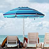 XKRSBS Sombrilla de Playa portátil Refugio al Aire Libre Patio de Sun con la Arena del Ancla, de Fibra de Vidrio Costilla, Botón de inclinación y Lleva el Bolso (Azul/Blanco)