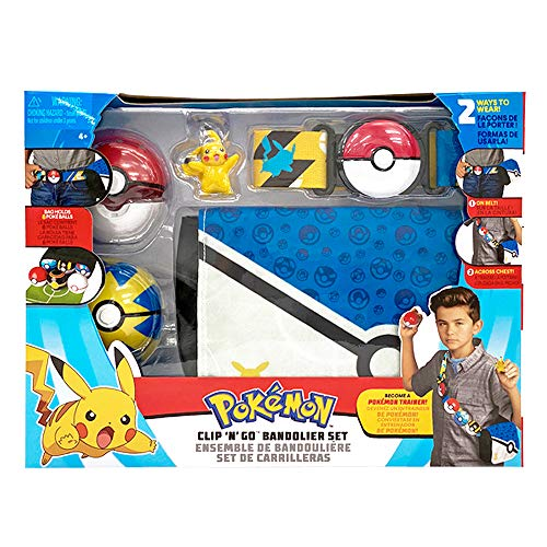"Pokemon Bandolier Set - Features a 2"" Pikachu Figure, 2 Clip 'N' Go Poke Balls, a Clip 'N' Go Poke Ball Belt, and a Clip 'N' Go Carrying Bag - Bag Folds Out Into Battle Matt for 2 Figures"